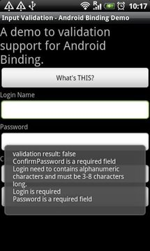 Validate:Android Binding Demo
