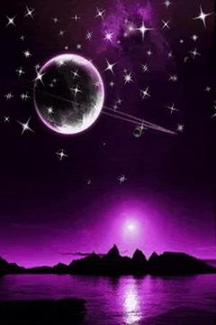 Purple Sky With Stars n Saturn