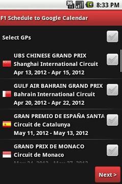 Motorsports to Google Calendar