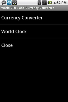 World Clock and Currency Conv