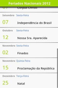 Calendário de Feriados 2012