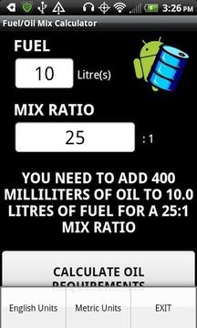 Fuel/Oil Mix Calculator