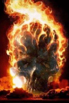 Skull In Flame Live Wallpaper