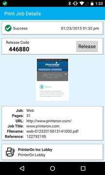 PrinterOn Android App - Phone
