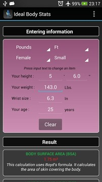 Ideal Weight Stats - BMI / BFI