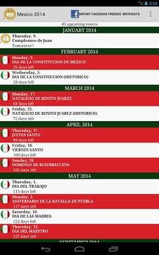 Calendario Feriados Mexico