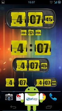 3D Animated Flip Clock YELLOW