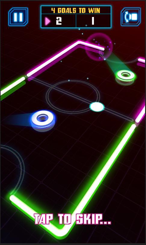 冰球游戏,游戏搭载了精美炫丽的laser发光特效和经过反复精心调整的