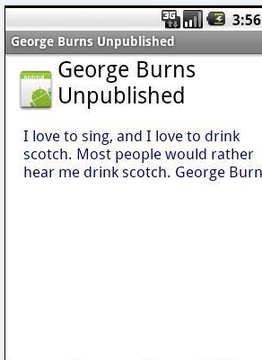 George Burns Unpublished